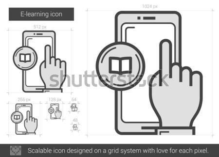 Online oktatás vonal ikon vektor izolált fehér Stock fotó © RAStudio