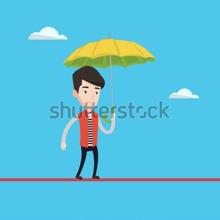 ストックフォト: ビジネスマン · 保険 · エージェント · 傘 · アジア