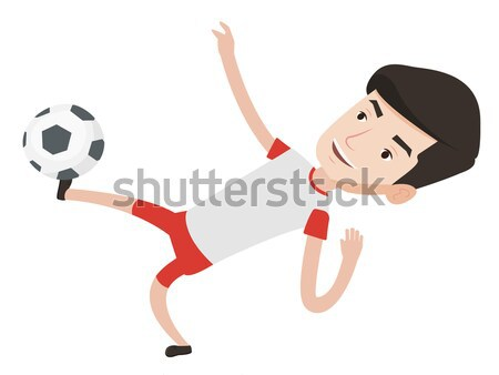 Soccer player kicking ball vector illustration. Stock photo © RAStudio