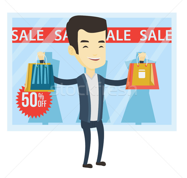 Man shopping on sale vector illustration. Stock photo © RAStudio