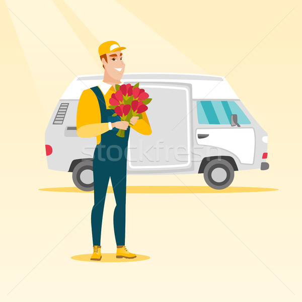 Stock foto: Lieferung · Kurier · halten · Bouquet · Blumen · stehen