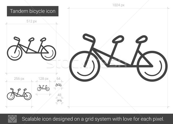 Stock photo: Tandem bicycle line icon.