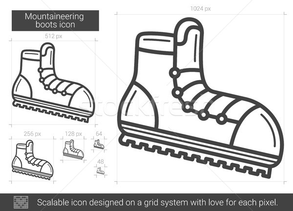 Montanhismo botas linha ícone vetor isolado Foto stock © RAStudio