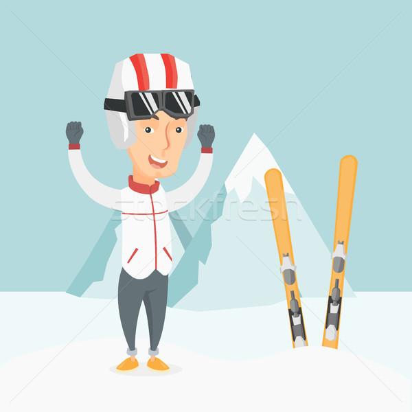 лыжник Постоянный поднятыми руками кавказский гор Сток-фото © RAStudio