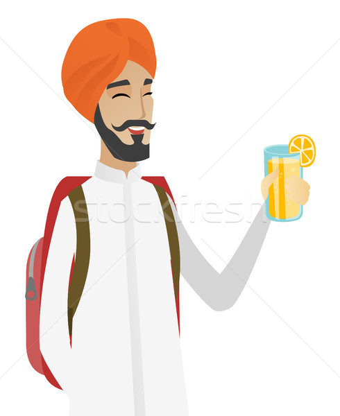 Reiziger man drinken cocktail opgewonden glimlachend Stockfoto © RAStudio