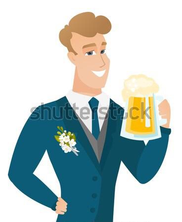 Groom drinking beer vector illustration. Stock photo © RAStudio