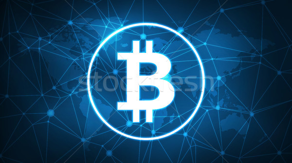 Bitcoin symbol on futuristic hud banner. Stock photo © RAStudio