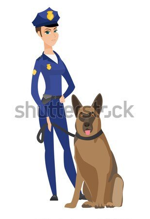 Caucasian police officer standing near police dog. Stock photo © RAStudio