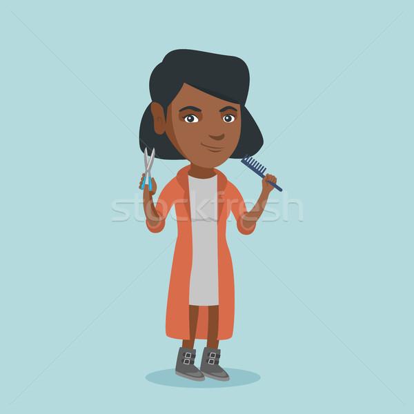 Friseur halten Kamm Schere Hände Stock foto © RAStudio