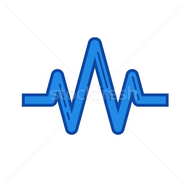 звуковая волна линия икона вектора изолированный белый Сток-фото © RAStudio