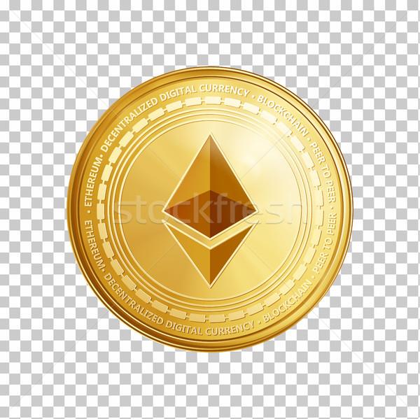 Golden ethereum blockchain coin symbol. Stock photo © RAStudio
