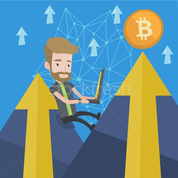Om bitcoin monedă comercial caucazian Imagine de stoc © RAStudio
