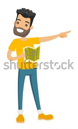 African man with map pointing finger to the side. Stock photo © RAStudio