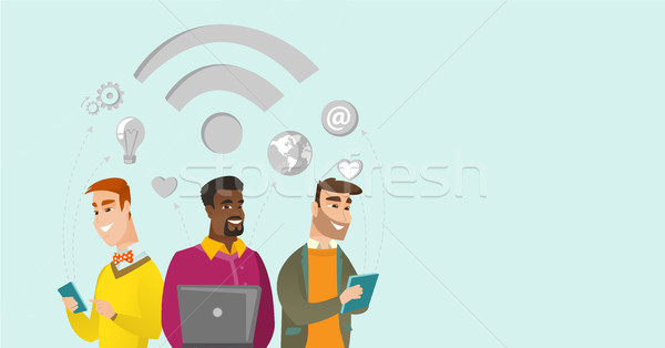 Multiracial businessmen working under wifi symbol. Stock photo © RAStudio