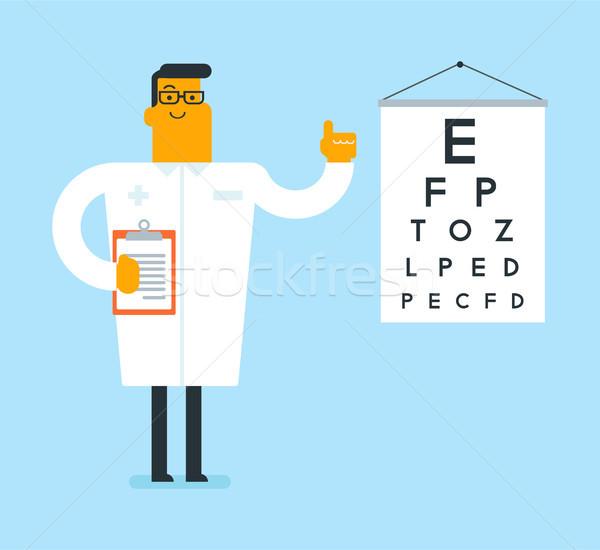 Kaukázusi fehér szemorvos szem diagram orvos Stock fotó © RAStudio