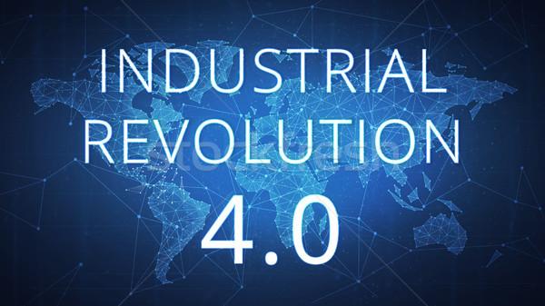 Vierde industriële revolutie banner futuristische wereldkaart Stockfoto © RAStudio