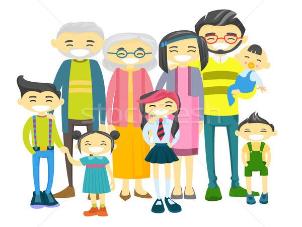 Happy extended asian family with many children. Stock photo © RAStudio