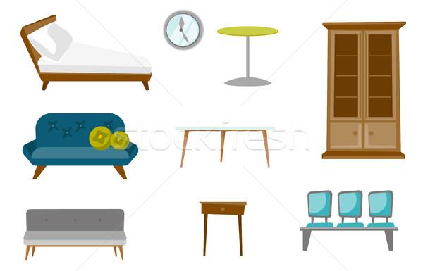 Furniture vector cartoon illustrations set. Stock photo © RAStudio