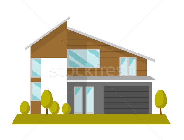 Residential house vector cartoon illustration. Stock photo © RAStudio