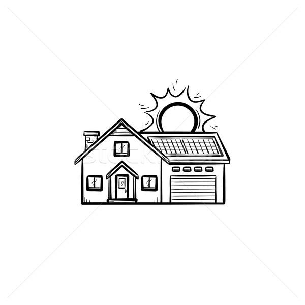 Power efficient house hand drawn sketch icon. Stock photo © RAStudio
