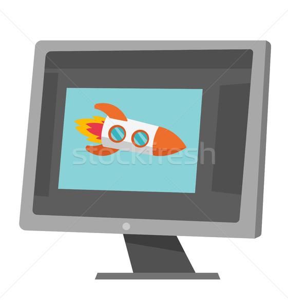 Raket vliegen uit laptop scherm vector Stockfoto © RAStudio