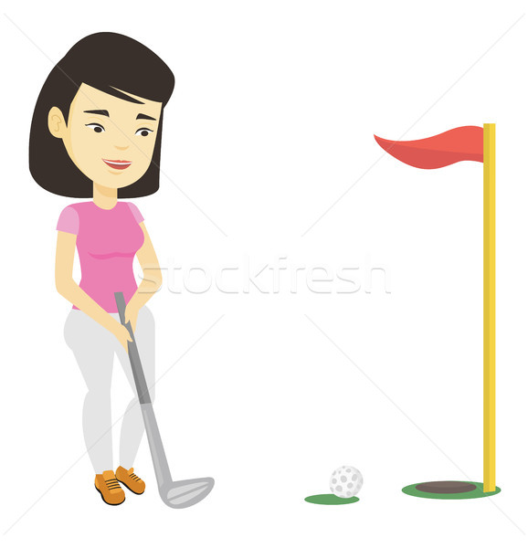 Golfer hitting the ball vector illustration. Stock photo © RAStudio