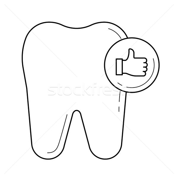 Stock photo: Healthy tooth line icon.