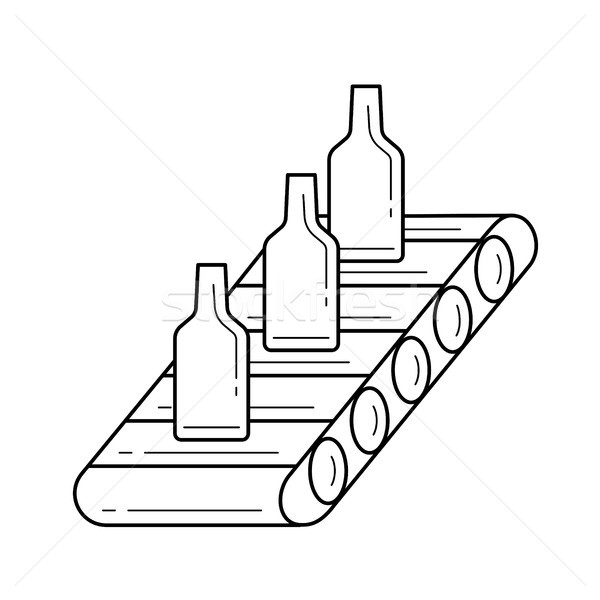 Factory conveyor vector line icon. Stock photo © RAStudio