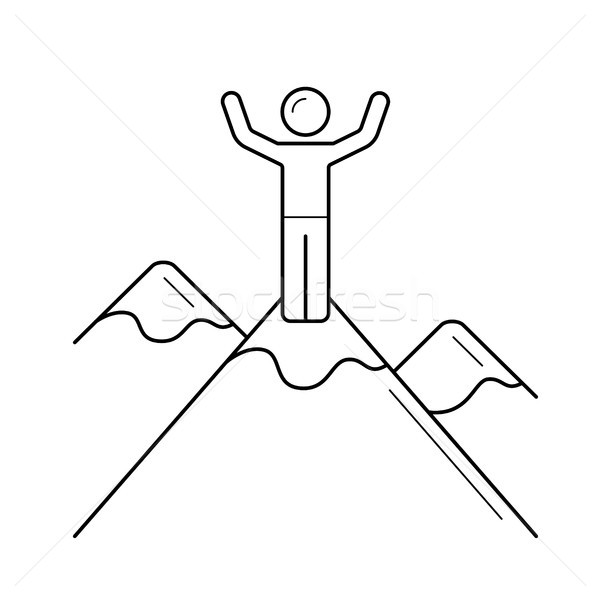 Mountain climber line icon. Stock photo © RAStudio