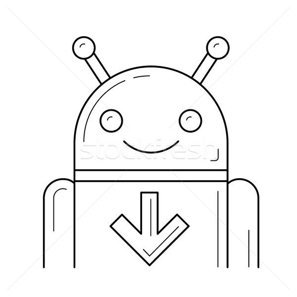 Stok fotoğraf: Indirmek · hareketli · uygulaması · hat · ikon · vektör