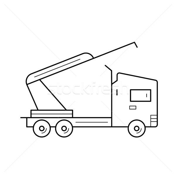 Caminhão guindaste linha ícone vetor isolado Foto stock © RAStudio