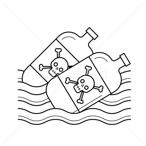 морем загрязнения вектора линия икона изолированный Сток-фото © RAStudio