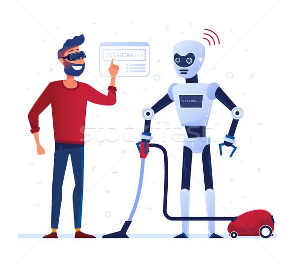 Robot governante aspirapolvere auricolare home futuro Foto d'archivio © RAStudio