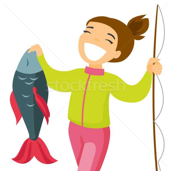 Caucasian white fisherwoman holding fish. Stock photo © RAStudio