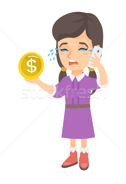 Little business woman crying and talking on phone. Stock photo © RAStudio