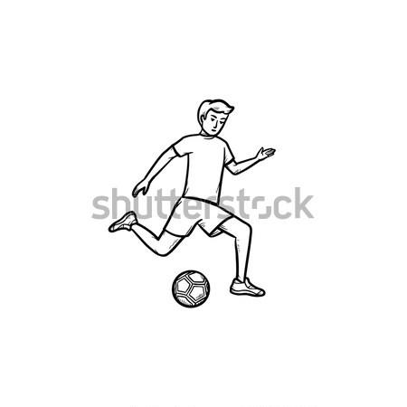 Piłkarz piłka gryzmolić ikona Zdjęcia stock © RAStudio