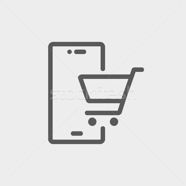 Shopping cart signboard thin line icon Stock photo © RAStudio