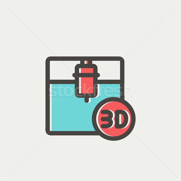 Três impressão máquina fino linha ícone Foto stock © RAStudio