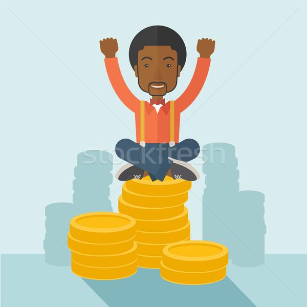 誇りに思う アフリカ系アメリカ人 ビジネスマン 座って ドル ストックフォト © RAStudio