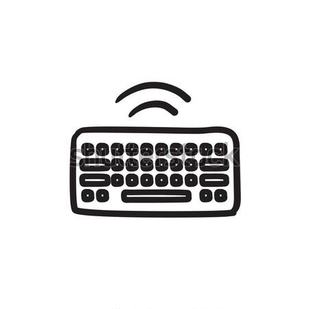Wifi button in keyboard thin line icon Stock photo © RAStudio