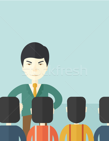 Angry Asian boss with his employees Stock photo © RAStudio