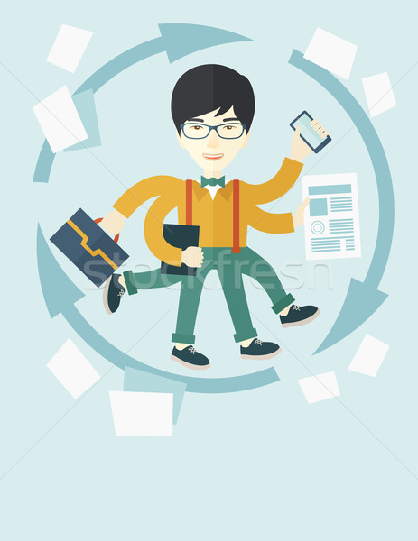 Chinese man with multitasking job Stock photo © RAStudio