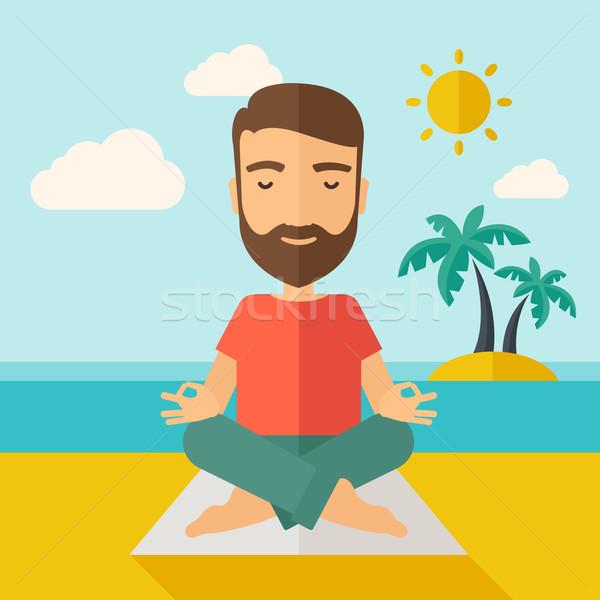 Férfi jóga tengerpart hipszter nap kortárs Stock fotó © RAStudio