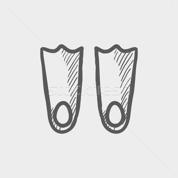 Swimming flippers sketch icon Stock photo © RAStudio