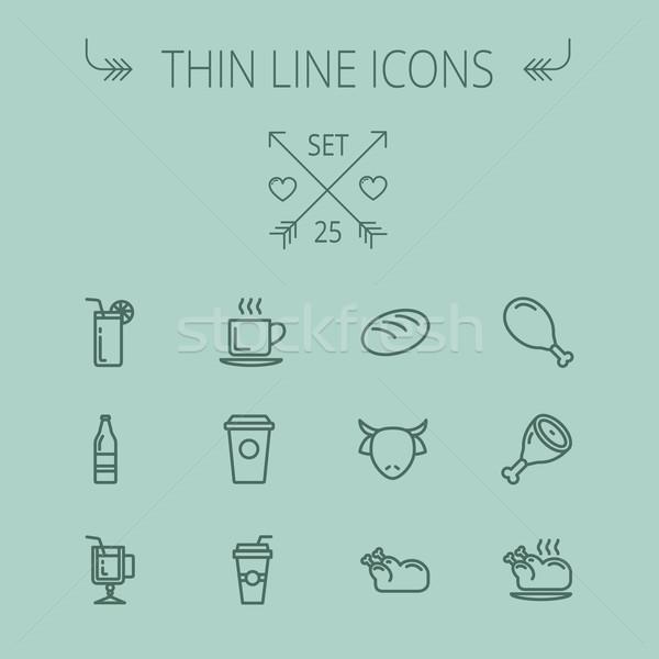 Food thin line icon set Stock photo © RAStudio