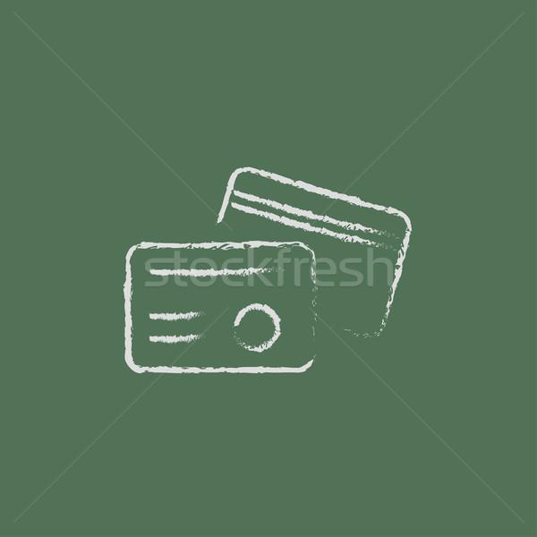 Identification card icon drawn in chalk. Stock photo © RAStudio