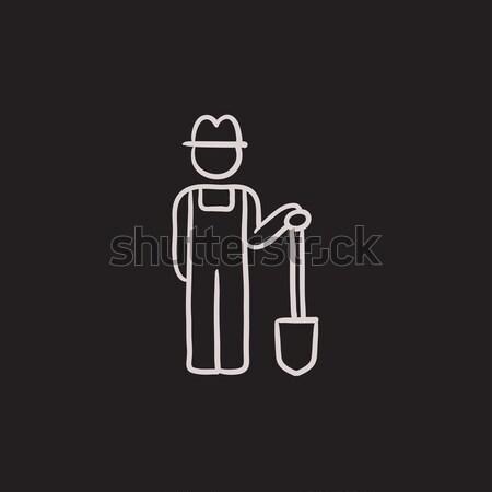 Stock photo: Farmer with shovel line icon.