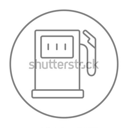 Posto de gasolina linha ícone teia móvel infográficos Foto stock © RAStudio