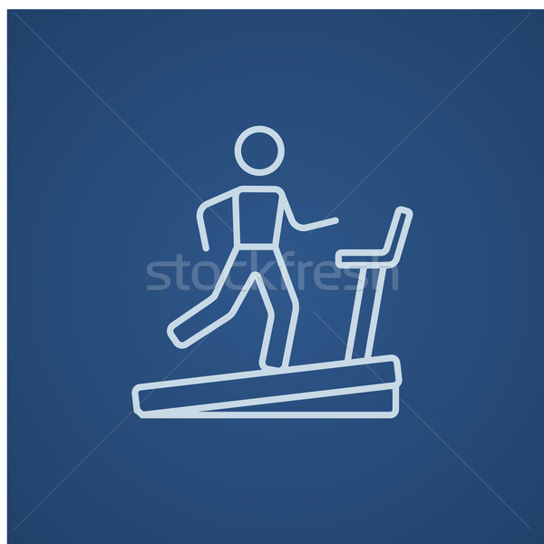 Man lopen tredmolen lijn icon web Stockfoto © RAStudio