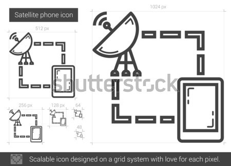 Navigator and satellite dish line icon. Stock photo © RAStudio